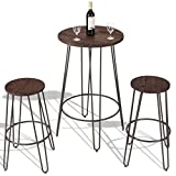 3 pcs Wood Round Bar Table Bistro Stool Set