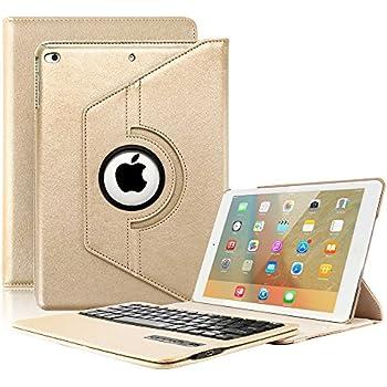 2017 New iPad 9.7 Keyboard Case, KVAGO Stylish 360 Degree Rotating Swivel Case with Detachable Wireless Bluetooth Keyboard Case for New iPad 9.7 Tablet -Gold