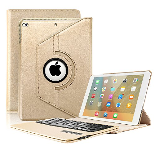 KVAGO Keyboard Case for New 2018/2017 iPad 9.7 inch, iPad Air -Stylish 360 Degree Rotating Case with Detachable Wireless Bluetooth Keyboard for iPad 6th Gen,iPad 5th Gen, Air 1 -Gold