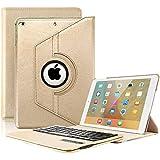KVAGO Keyboard Case for New 2018/2017 iPad 9.7 inch, iPad Air -Stylish 360 Degree Rotating Case with Detachable Wireless Bluetooth Keyboard for iPad 6th Gen,iPad 5th Gen, Air 1 -Gold