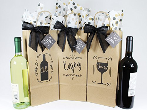 Wine Bottle Gift Tags (Wine Bottle Gift Bags for All Occasions. Set of 6 Includes Tissue Paper, Gift Tag and Twist-Tie Bow. Bags Made in USA of 100% Recyclable Materials. Pack of 6 Single-Bottle Bags, Kraft Brown.)