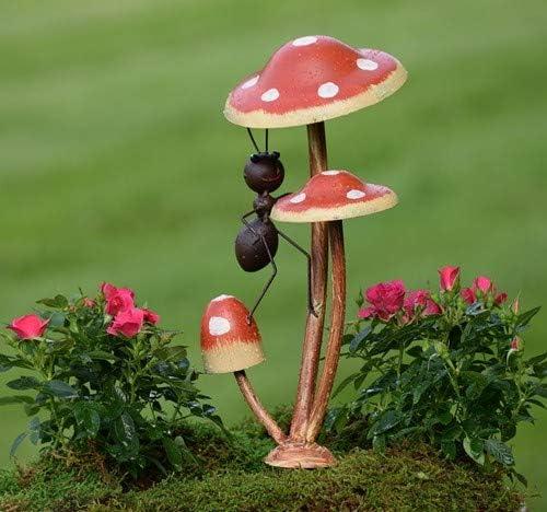 Zaer Ltd. Ants metálicos en Setas de Hongos para jardín/Maceta ...