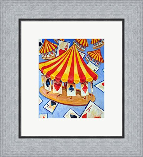 Carousel of Cards by The Artist Elite Ltd Framed Art Print Wall Picture, Flat Silver Frame, 14 x 15 inches - Elite Carousel