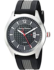 Tommy Bahama Mens Quartz Stainless Steel and Silicone Casual Watch, Color:Black (Model: TB00029-01)