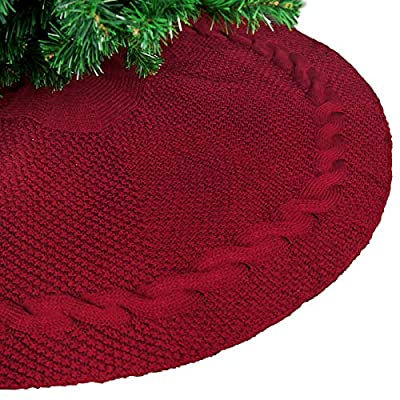 "LimBridge 48"" Luxury Knitted Christmas Tree Skirt Thick Heavy Yarn Wine Red Rustic Xmas Holiday Decoration"