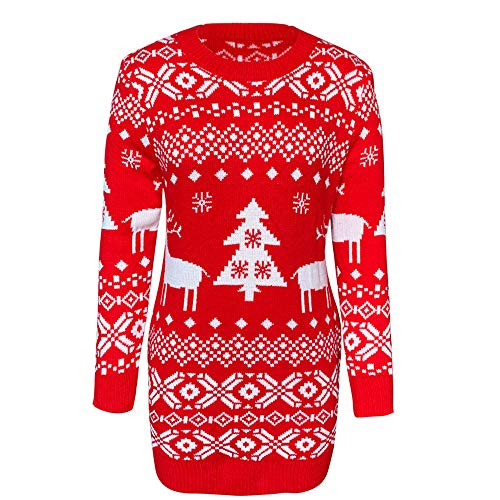NJBRL Women's Christmas Sweater Reindeer Tree Snowflakes Patterns Long Sleeve Knitted Pullover Sweater Dress