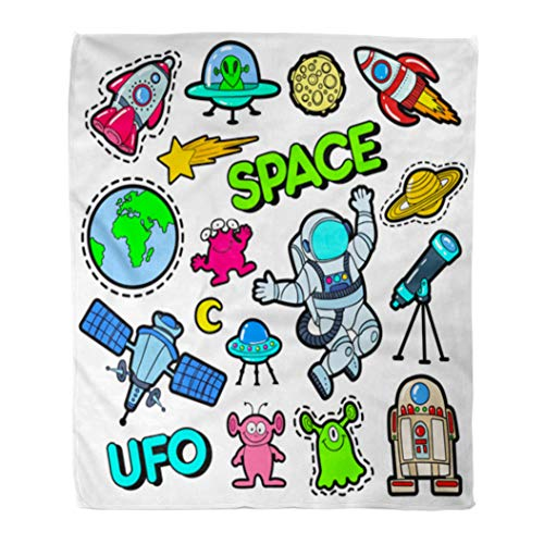 (Semtomn Flannel Throw Blanket Patch Badges Space UFO Robots and Funny Aliens Soft for Bed Sofa and Couch 50x60 Inches)