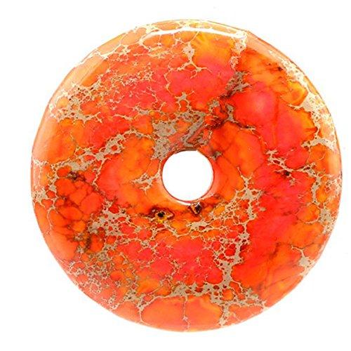 50mm Gemstone Dyed Sea Sediment Jasper Reiki Healing Chakra Donut Pendant Bead DIY Jewelry Accressory Necklace Kit (Orange)