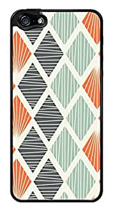 Colorful Geometric Lines Pattern Snap-On Cover Hard Plastic Case for iPhone 5/5S (Black)