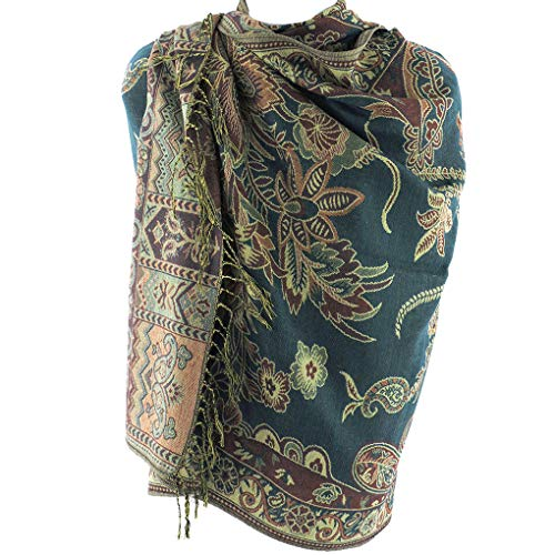 Floral Jacquard Scarf - Silver Fever Pashmina - Jacquard Paisley Shawl - Stylish Scarf - Double Sided Wrap (Teal Floral)