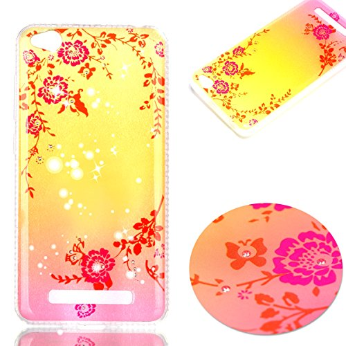Price comparison product image Xiaomi Redmi 4A Case,Xiaomi Redmi 4A Cover,ikasus Crystal Shiny Sparkly Bling Diamond Art Painted Soft Flexible TPU Rubber Silicone Skin Cover Clear Case for Xiaomi Redmi 4A,Pink Flower Butterfly