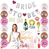 Bachelorette Party Decorations Kit| Bridal Shower Supplies - Bride to Be Sash, Banner,Champagne,Ring,Wine Glass Foil Balloon,Photo Booth Props Kit,20 Latex Balloons-35 Ct