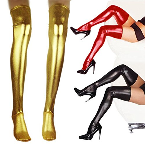 CHICTRY Women's Shiny Metallic Leather Wet Look Skin Tight Thigh High Stockings