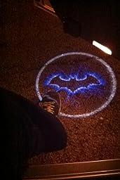 Generic black wireless car door led projector light 2x night cold blue bat batman - Batman projector night light ...
