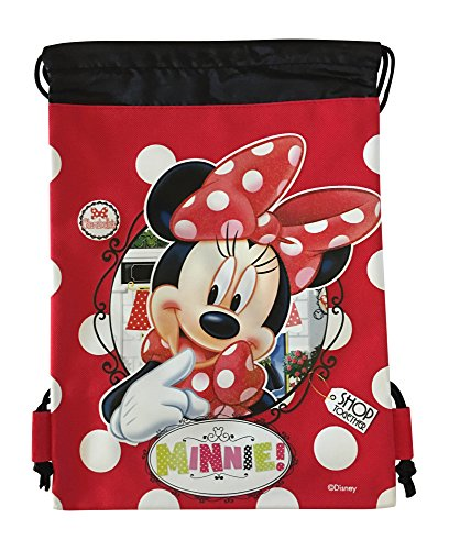 Disney Minnie Mouse Authentic Licensed Drawstring Bag Backpack (Red)