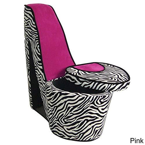 ORE Chair with Storage, High Heel Design, Pink Zebra