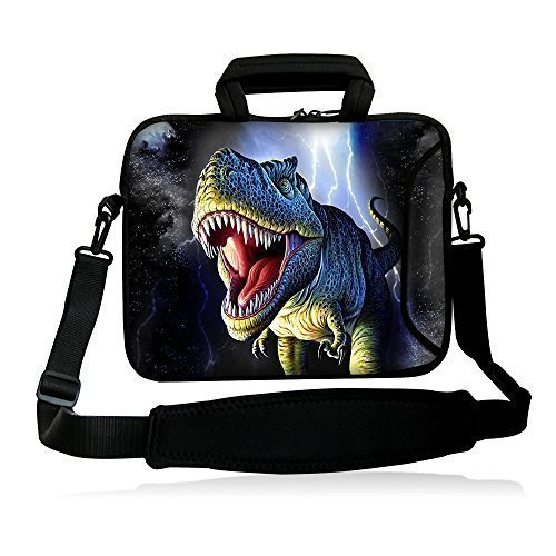 """Colorfulbags Dinosaur / Tyrannosaurus Rex 16"""" 16.5"""" 17"""" 17.1"""" 17.3"""" 17.3"""" inch Laptop Notebook Computer PC Dual Zipped Neoprene Non-slip Shoulder Bag Messenger Bag Case cover Holder Protector Pack W/ Side Pocket For Ultrabook Chromebook Laptop/17"""" Apple Macbook Pro / Samsung 17-inch Series 7 ,17.3"""" Dell Inspiron 17 17R, 17"""" Dell Asus /Alienware M17x / XPS ASUS G75VW,Toshiba Acer,17.3"""" HP Pavilion DV7 E17 G7 G71 G72,Genuine HP HP700 17.3"""" HP ENVY 17,Portable,17.3"""" LENOVO G780/G700 Sony"""