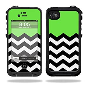 Protective Vinyl Skin Decal Cover for LifeProof iPhone 4 / 4S Case Sticker Skins Lime Chevron