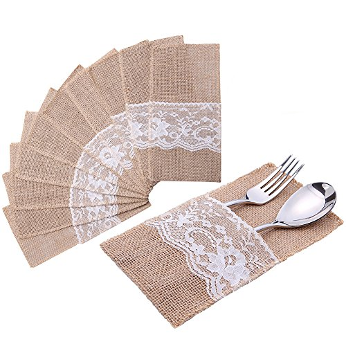 handrong Natural Burlap Lace Silverware Napkin Holder Knife Fork Cutlery Pouch 4 x 8 inch Tableware Utensils Bag for Rustic Wedding Party Bridal Baby Shower Christmas Favor Decorations Gifts -