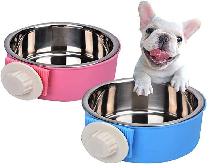 Yusenpet Cage Feeder Bowl for Small Pet, Food Water Feeder Bowl Dish with Bolt Holder for Pet Dog Cat Bird
