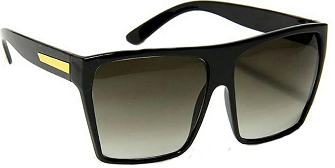6ee63be15a grinderPUNCH Large Retro Style Square Aviator Flat Top Sunglasses Black