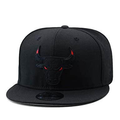 cheap for discount bc487 15fe1 Image Unavailable. Image not available for. Color  New Era 9fifty Chicago  Bulls Snapback Hat Cap Black Red Eyes