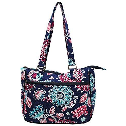 Ngil Quilted Cotton Shoulder Bag (Medievil Blossom Navy)