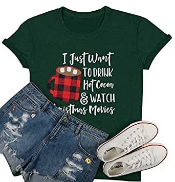 LUKYCILD I Just Want to Drink Hot Cocoa Watch Christmas Movies T Shirt Women Christmas Short Sleeve Cute Funny Shirt Top Green