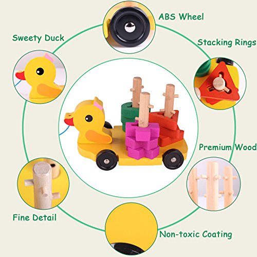 Pull Along Toy,Wooden Duck Toy with Educational Peg Puzzle for Toddlers' Shape & Color Sorting by Hero Selected (Image #1)
