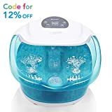 Foot spa/Bath Massager with Heat Bubbles Vibration 3 in 1 Function, 4 Masssaging Rollers Pedicure Tired Feet with Salts and Oils Stress Relief Help Sleep Home Use