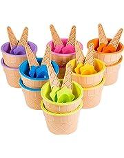 Pack of 12 Plastic Sundae Ice Cream Frozen Yogurt Cups with Spoons - Ice Cream Dessert Bowls (3.74x2.36 inch)