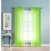 Window Elements Diamond Sheer Voile Extra Wide 56 x 63 in. Rod Pocket Curtain Panel, Lime
