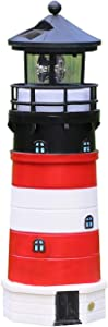 Garden Solar Lights Outdoor Decorative - Lighthouse with Rotating Beacon LED Lights for Garden Patio Lawn (Red White)