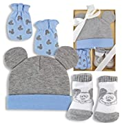 Mickey Mouse Baby Boy Gift Set - Hat, Scratch Mittens, Socks - Gift Boxed New Baby Gift Disney