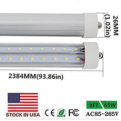 8' T8 T10 T12 65W LED Tube Light [150W Fluorescent Equivalent] 7500lm 6000K Cold White Frosted Lens Cover FA8 Single Pin Dual-End Powered Fluorescent Tube Retrofit Replacement-Pack of 10