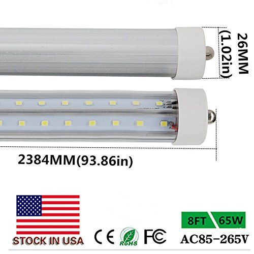 8ft 65Watt T8 LED Tube, Dual-End Powered, Easy Ballast Removal Instal,96'' FA8 Single Pin Light Bulb 8500LM Lamps 6000K 5500K 4000K (10Pack Clear /Milky Cover) Lens,US SHIP (4000K milky cover) by BSK.BESTKA
