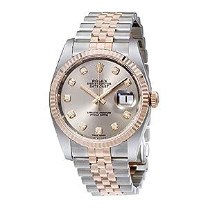 Rolex Datejust 36 Rhodium Diamond Dial Steel and 18kt Everose Gold Mens Watch 116231RDJ