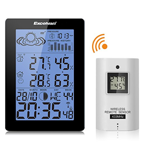 EXCELVAN Funkwetterstation LCD Tabla Funkuhr Wecker, Thermometer Außensensormit Präzisionsvorhersage Temperatur Feuchte Mond Barometer Schwarz