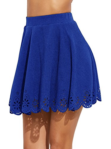 (SheIn Women's Basic Solid Cutout Scallop Hem Flared Mini Skater Skirt Small Royal Blue)