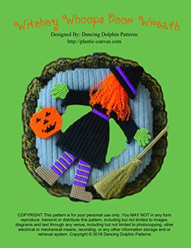Halloween Yarn Wreath Diy (Witchey Whoops Door Wreath: Plastic Canvas)