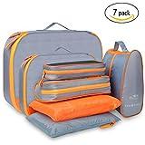Travel Packing Cubes Luggage Organizer – Luxsure 7 pcs Waterproof Bags (Orange)