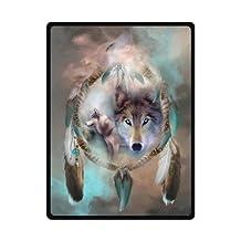 "Best Cool Wolf Dream Catcher Fleece Blanket 58""x 80"" (Large)"