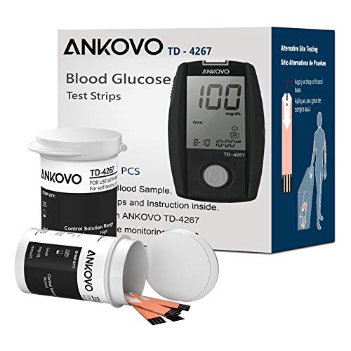 Blood Glucose Test Strips, Diabetic Test Strips for Blood Sugar, Precision Measurement for Diabetes, High Anti-Interference Strips for Use with ANKOVO TD-4267 Blood Sugar Monitor, 100 Count