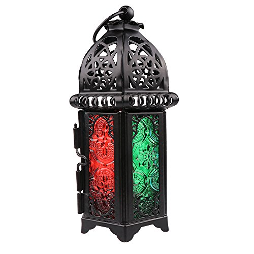 Moroccan Lantern Sunsbell Candle Lantern Colored Glass Candle Holder Windproof Table/Hanging Lantern Lamp (Black)