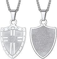 Colar de Amuleto Cruzado U7 Escudo da Fé/Inspirador 55 cm Josué 1:9, Gravação de Texto Personalizável, 3 Opçõe