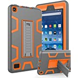 """All-New Amazon Kindle Fire 7 (2017 7th Generation),Topsky Three Layer Armor Defender Full Body Protective Case Cover For Amazon Kindle Fire 7"""",Grey/Orange"""