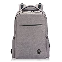 Lekebaby Unisex Baby Diaper Bag Backpack with Stroller Straps and Changing Pad for Mom and Dad, Grey