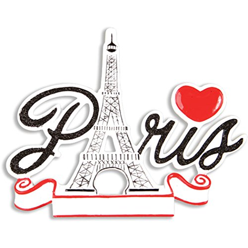 Personalized Paris France Christmas Tree Ornament 2019 - Elegant Eiffel Tower Black Word Red Heart Holiday City 1st Travel Tourist Gift Away Souvenirs Love First Visit Year - Free Customization