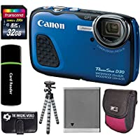 Canon PowerShot D30 Waterproof Underwater 12.1MP 5x Optical Zoom 1080p HD Video IS Digital Camera (Blue) + 32GB Card + Tripod + Battery + Accessories Bundle Explained Review Image
