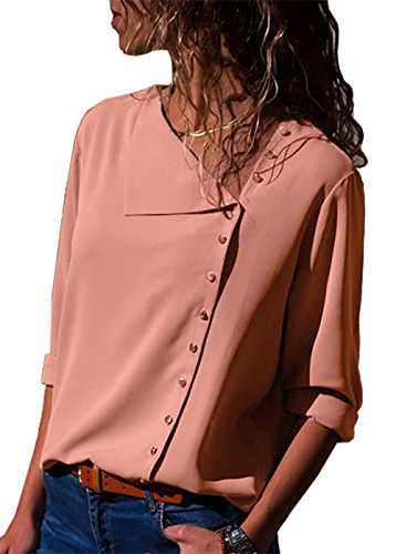 PRETTYGARDEN Women's Button Down Long Sleeve Solid Color Sexy V Neck Casual Chiffon Blouse Tops (Pink, Small)